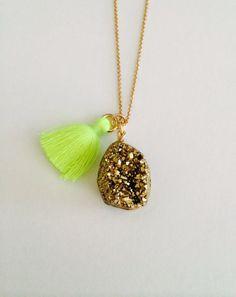 Neon Tassel and Pyrite Gemstone Necklace