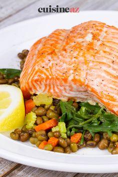 Les lentilles au saumon sont un plat facile à cuisiner au Cookeo. #recette #cuisine #lentillles #saumon #poisson #robot #robotculinaire #cookeo #moulinex Robot, Gourmet, Cooking Recipes, Healthy Meals, Cooking Food, Robots
