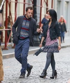 Lucy Liu and Jonny Lee Miller filming Elementary in New York City