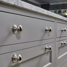 Particularly loving Aware Gray and also Kendall Outdoor cooking with charcoal via Readers' Favored Fresh paint Hues Color Palette Monday, kitchen cabinets, grey display case, grey display case. French Grey Little Greene, Little Greene Paint, Bespoke Kitchens, Grey Kitchens, Oak Wine Rack, Cooking With Charcoal, Grey Cupboards, Bedroom Built Ins, Kitchen Cabinet Handles