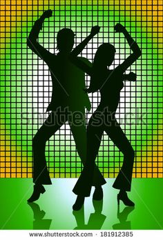 Silhouette Illustration of couple dancing with green light as the background - stock photo
