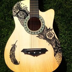 Hand painted guitar tattoo © Lilian Leahy