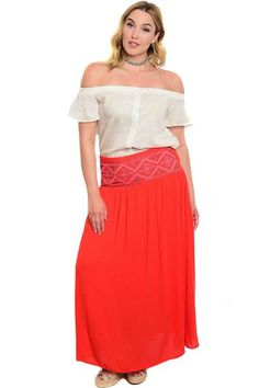 1118babb6b9 Plus Size High Waist Lightweight Maxi Skirt With Embroidered Detail
