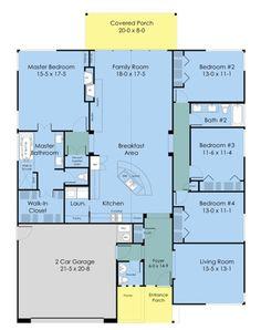 Ranch Style House Plan - 4 Beds 2.5 Baths 2352 Sq/Ft Plan #489-3 Floor Plan - Main Floor Plan - Houseplans.com