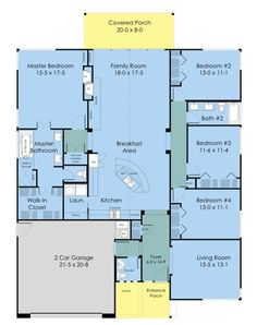 Ranch Style House Plan - 4 Beds 2.5 Baths 2352 Sq/Ft Plan #489-3 Floor Plan - Main Floor Plan - Houseplans.com