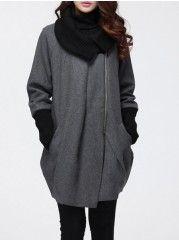 Asymmetrical Hems Comfortable Turtleneck Overcoats