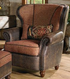 like the combination of leather and tweed in this chair
