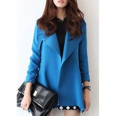 Stylish Turn-Down Collar Long Sleeve Solid Color Pocket Design Trench Coat For Women