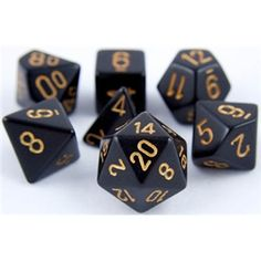RPG Dice Set (Dungeon Black Gold) role playing game dice