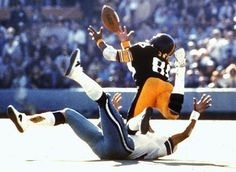 Swann dives as he catches a pass from QB Terry Bradshaw during Super Bowl X in Miami, Fla., on Sunday, Jan. 18, 1976