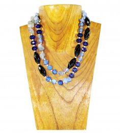 Navy, black and grey 2 string gemstone necklace