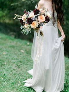 Pleated Chiffon Wedding Dress with a Beaded Bodice | Rachel May Photography and Amore Events by Cody | Garnet and Rose Gold - An Enchanted Garden Wedding Editorial - http://heyweddinglady.com/garnet-and-rose-gold-an-enchanted-garden-wedding-editorial/