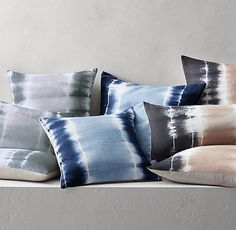 Hand-Dyed Linen Shibori Pillow Cover