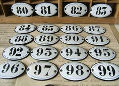 Vintage French enamel number - Small antique enameled sign plate - Antique oval 88, 89, 90, 92, 93