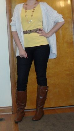 Fall casual date night outfit - white cardigan, yellow tank, dark skinny jeans, cognac boots, leopard belt