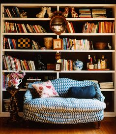Living room. I picture her in a small flat crowded with books and blankets. She has a weakness for china dogs.
