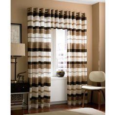 Zanzibar Grommet Window Curtain Panels and Valance in Chocolate - BedBathandBeyond.com