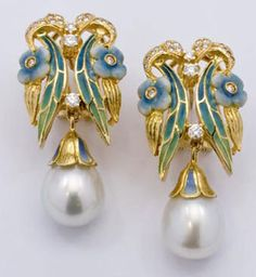 18K Yellow Gold Glass Enamel and Diamond and White South Sea Pearl Earrings