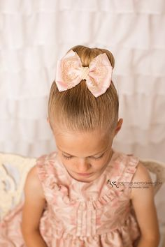 Oversized bow with lace and pearls ,perfect on a messybun for okder girls