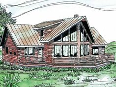 Eplans Log Houses House Plan - Three Bedroom Log Houses - 1987 Square Feet and 3 Bedrooms from Eplans - House Plan Code HWEPL58550