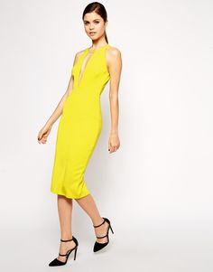 ASOS COLLECTION ASOS Ultra Plunge T-Bar Scuba Pencil Dress