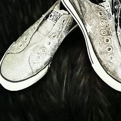 Women's Converse One Star Sparkle Glitter Silver Slipon Size 7 Perfect Condition | eBay