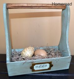 Homeroad robins egg blue wood egg tote