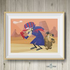 Pierre Nodoyuna y Patán arte poligonal | Dick Dastardly y Muttley polygonal art