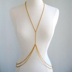 Double Loop Gold Body Chain Body Jewellery Women by fairedelamode, $29.00  Beachwear