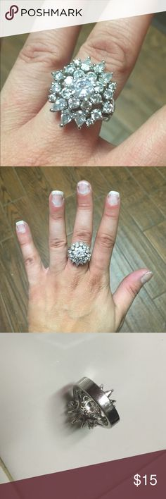 Stella and Dot silver fashion ring SUPER shiny! Wore twice. Has a few scratches on the band shown in picture 3. No missing stones. Jewelry Rings