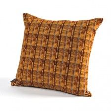 'New York Blue Brown Stripe' cushion by Penny Seume  Velvet & linen with feather pad and invisible zip 45cm x 45cm