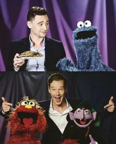 Tom Hiddleston and Cookie Monster /// Benedict Cumberbatch with Murray and the Count!- Sesame Street
