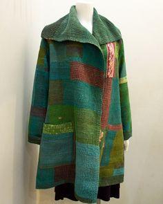 marisa-ramirez: mieko mintz // flowing coat with blue and green patchwork
