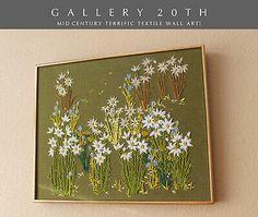 FAB! MID CENTURY MODERN FLOWERS TAPESTRY! VTG ART 50's 60'S WALL DECOR ATOMIC | eBay Mid Century Modern Art, Wall Decor, Wall Art, Natural World, Kitsch, Wild Flowers, Mid-century Modern, Tapestry, Artist