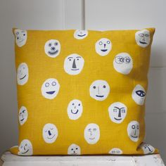 BACK BY POPULAR DEMAND! Masks cushion in mustard. Screenprinted and sewn in South London and yours for £40 http://hazelstark.bigcartel.com/product/masks-cushion