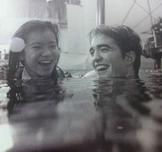 Cedric Diggory and Cho Chang laughing in the lake: