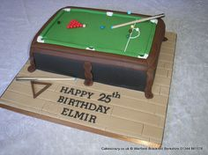 Snooker table cake complete with triangle cues and balls made from icing http://www.cakescrazy.co.uk/details/snooker-cake.html