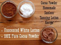 to Make Your Own Homemade Self-Tanning Lotion Recipe for cocoa powder sunless tanning lotion.Recipe for cocoa powder sunless tanning lotion. Diy Self Tanner, Tanning Solution, Self Tanning Lotions, Best Tanning Lotion, Lotion Recipe, Health And Beauty Tips, Health Tips, Healthy Beauty, Neutrogena