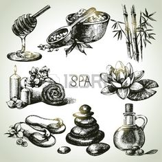 Spa sketch icon set. Beauty vintage hand drawn illustrations Stock Vector