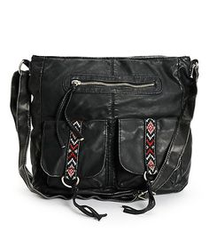 A multicolor tribal print embroidery adds a stylish accent with a fully lined zipper main compartment with an inner zip and organizer pockets.