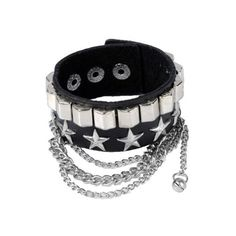 Punk Rock Various Skull Link Chain Black Leather Bracelet Cuff... (€1,72) ❤ liked on Polyvore