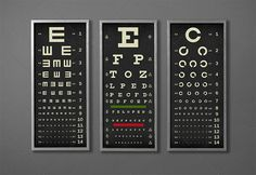 EYE CHART Print Triptych, Typography Poster, Snellen Vintage Style Vision Test, Eye Exam, Typographic, Ophthalmology, Optometry, Wall Art