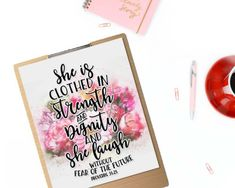 & is clothed in strength and dignity& Printable Printable Bible Verses, Printable Quotes, She Is Clothed, Bible Quotes, Strength, Printables, Clothes, Outfits, Clothing