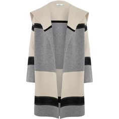 Vince Grey Colourblocked Shawl Car Coat
