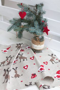 Christmas table runner with deers and Santa Claus Linen