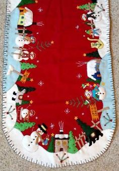 """This is a 46 x New Handmade """"Snowman Village"""", Beaded, Embroidered & Appliqued Winter & Christmas Table Runner. It will be a family treasure decade after decade! This table runner is all handmade. Quilted Table Runners Christmas, Christmas Runner, Felt Christmas Decorations, Cool Christmas Trees, Christmas Holidays, Christmas Crafts, Christmas Ornaments, Knitted Christmas Stockings, Christmas Knitting"""