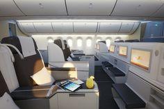 A little bit of luxury onboard 787 Dreamliner. Best of all - flat lie beds! Royal Brunei Airlines, New Airline, Boeing 787 Dreamliner, New Aircraft, Best Flights, Business Class, Design Inspiration, House Design, Luxury