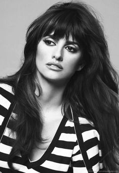 Penelope Cruz with long hair and bangs