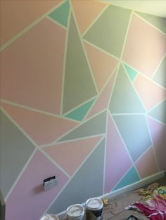 My pastel frog tape wall! #valspar #girlsroom