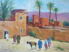 Title: Moroccan Village  Artist: Daheur  Technique: Oil on canvas  Size: 70 x 90 cm  Style: Village  Reference: Dah-Village-01  Price: $1165
